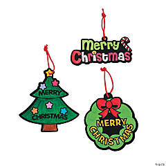 "Color Your Own Fuzzy ""Merry Christmas"" Ornaments"