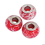 Red & Silver Flake Large Hole Beads