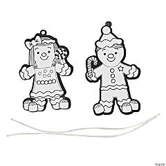 Color Your Own Gingerbread Ornaments