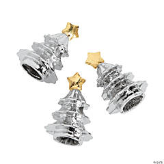 Silvertone Christmas Tree with Gold Star Large Hole Beads