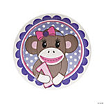 1st Birthday Miss Sock Monkey Dinner Plates