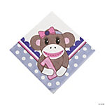 1st Birthday Miss Sock Monkey Luncheon Napkins