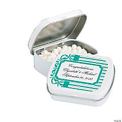 Personalized Filigree & Stripes Mint Tins