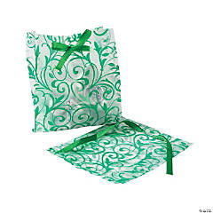 Frosted Emerald Green Swirl Wedding Bags