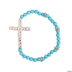 Aqua Sideways Cross Bracelet