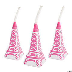 Eiffel Tower Molded Cups with Straws