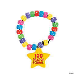 100th Day of School Beaded Bracelets with Charm