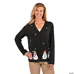 Large Puffy Snowman Cardigan For Women