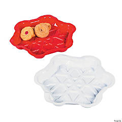 Red & White Snowflake Disposable Trays