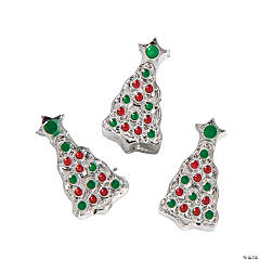 Red & Green Sparkle Christmas Tree Large Hole Beads