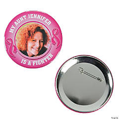 Personalized Pink Ribbon Custom Photo Buttons