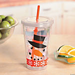 Snowman Face Tumbler with Straw
