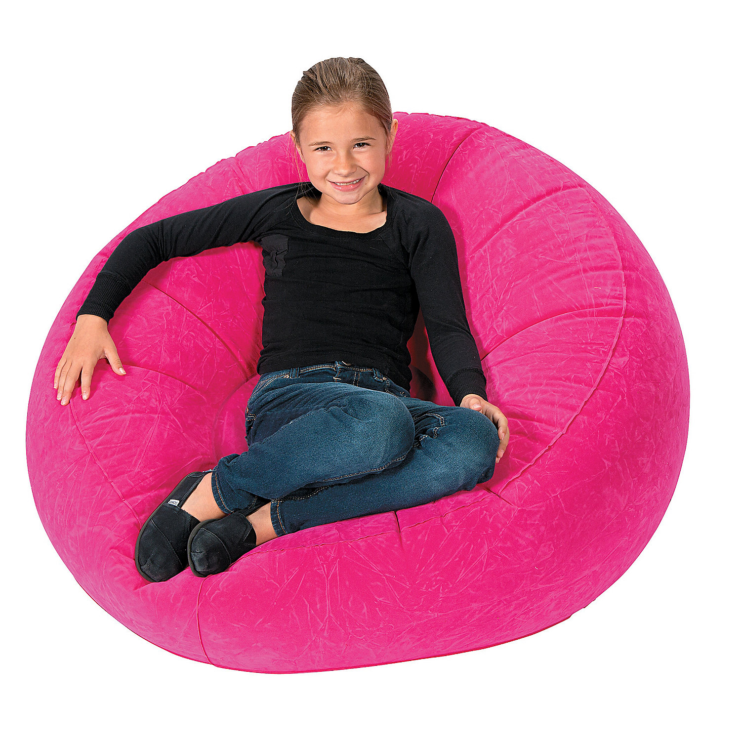 Inflatable hot pink flocked chair in 13616686 this vinyl chair is