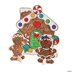 Color Your Own Stand-Up Gingerbread House Sets