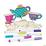 Color Your Own Stand-Up Teapots & Cups