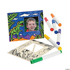 Color Your Own Wood Dino Picture Frames