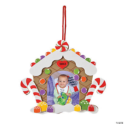 2013 14 gingerbread house picture frame christmas ornament for Photo frame ornament craft