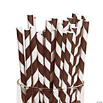 Brown Striped Paper Straws