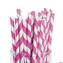 Hot Pink Striped Paper Straws