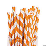 Orange Striped Paper Straws