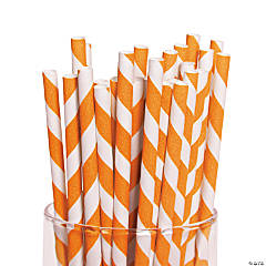 Orange Striped Straws
