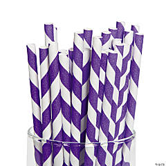 Purple Striped Straws