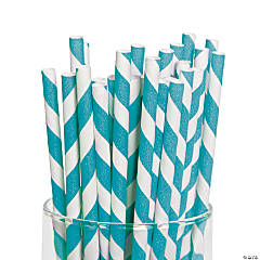 Turquoise Striped Paper Straws