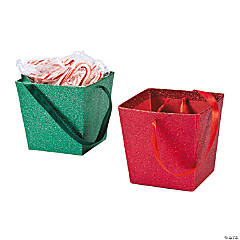 Christmas Buckets with Ribbon Handle
