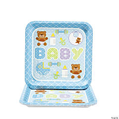 Teddy Baby Blue Baby Shower Square Dinner Plates