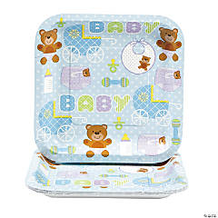 Teddy Baby Blue Baby Shower Square Dessert Plates