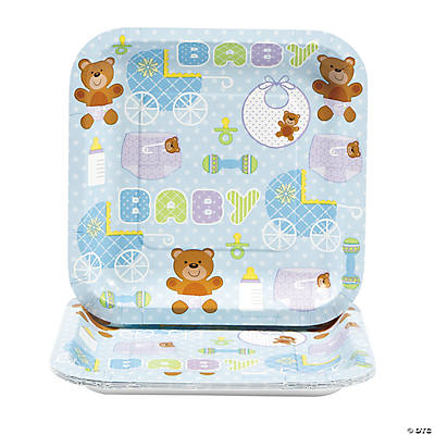 teddy baby blue baby shower square dessert plates oriental trading