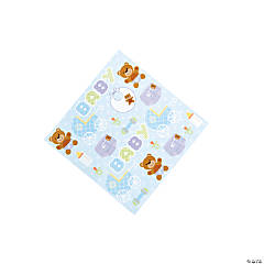 Teddy Baby Blue Baby Shower Beverage Napkins