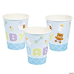 Teddy Baby Blue Baby Shower Cups