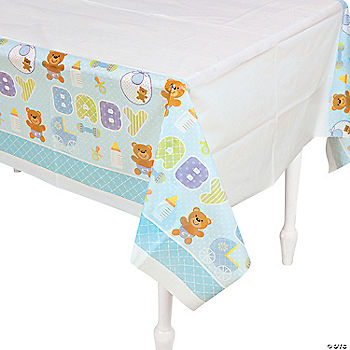 teddy baby blue baby shower table cover oriental trading