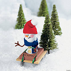 Sledding Marshmallow Snowman Ornament Craft Kit
