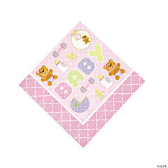 Teddy Baby Pink Baby Shower Luncheon Napkins