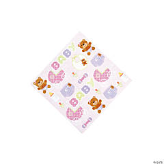 Teddy Baby Pink Baby Shower Beverage Napkins