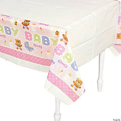 Teddy Baby Pink Baby Shower Table Cover