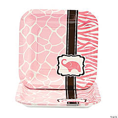 Wild Safari Baby Shower Pink Square Dessert Plates