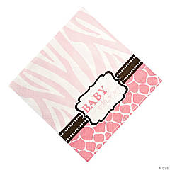 Wild Safari Pink Baby Shower Luncheon Napkins