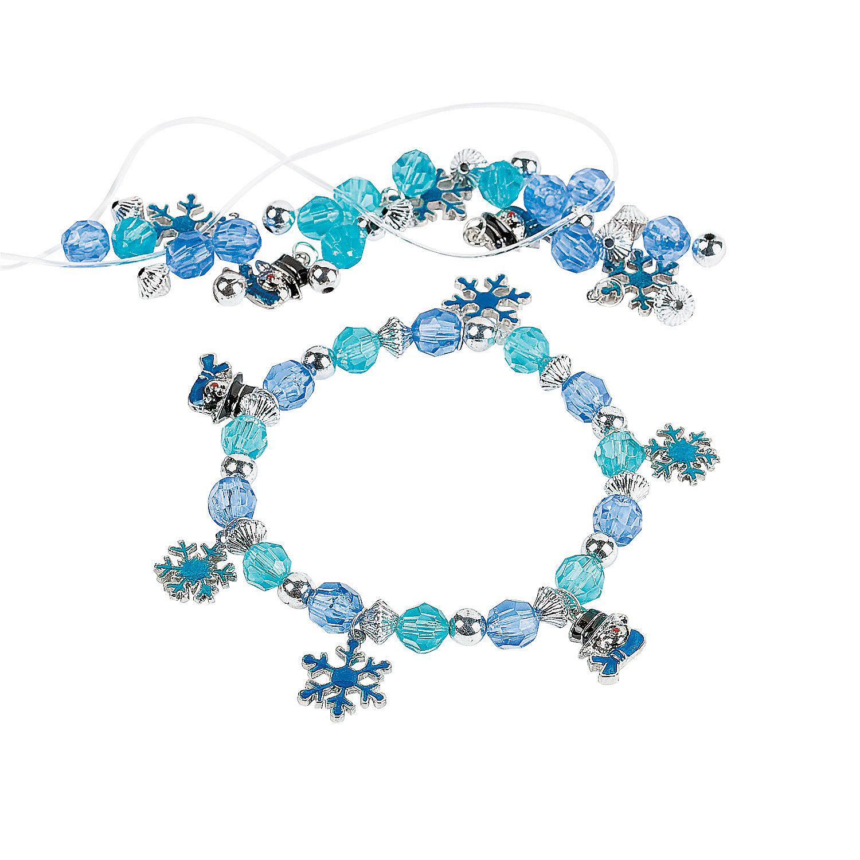 Snowflake Charm Bracelet: Beaded Snowflake Charm Bracelet Craft Kit, Jewelry Crafts