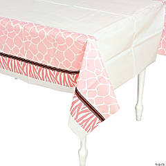 Wild Safari Pink Baby Shower Table Cover