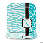 Wild Safari Blue Baby Shower Square Dessert Plates