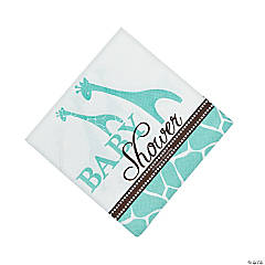 Wild Safari Blue Baby Shower Beverage Napkins