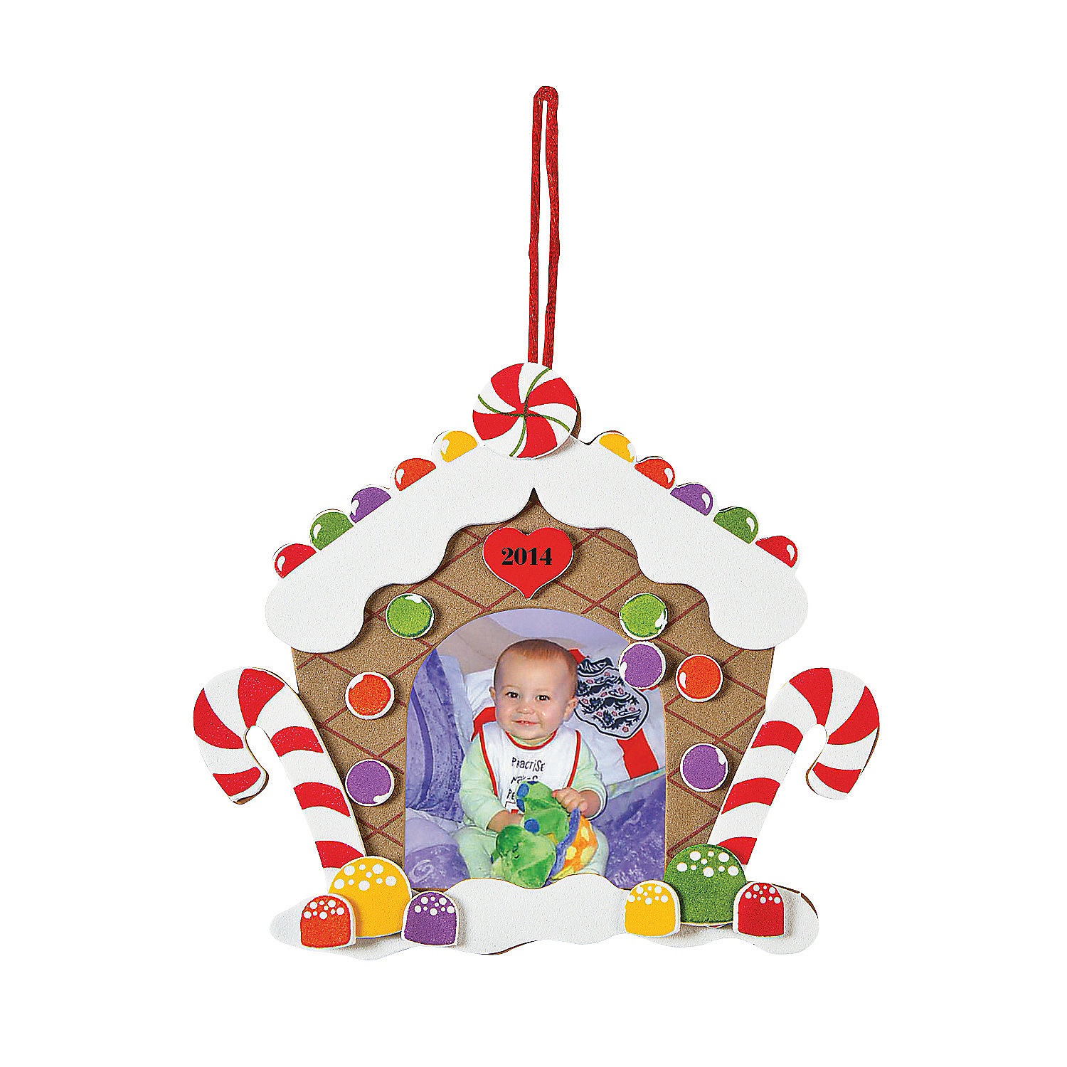 2013 gingerbread house picture frame christmas ornament for Photo frame ornament craft