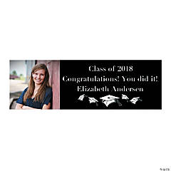 Medium Black Graduation Custom Photo Banner