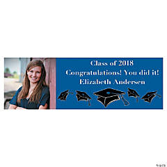 Large Blue Graduation Custom Photo Banner