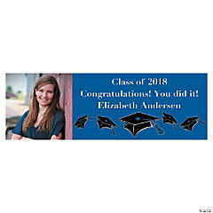 Small Blue Graduation Custom Photo Banner