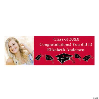 Large Red Graduation Custom Photo Banner