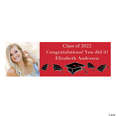 Large Red Graduation Custom Photo Banner